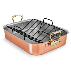 Mauviel Copper Roasting Pan with Rack (Bronze Handles) by Mauviel