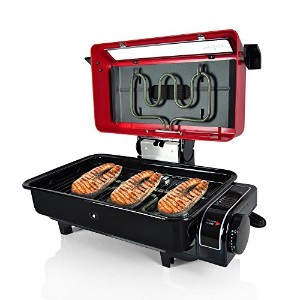 NutriChef Electric Grill Roaster Indoor and Outdoor Grilling Barbecue For Fish Meat Etc , Red ...