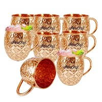AsiaCraft Pure Copper flower cut Outside Lacquer mugs Set of 8
