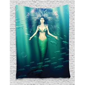 AmbesonneマーメイドDecorコレクション、マーメイドwith Fish in Sunbeams sunlights Magical Underwater Worldデザイン...