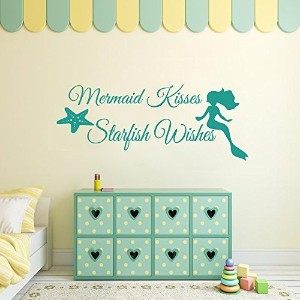Wall Decal Decor Girls Room Wall Decal Mermaid Wall Sticker Starfish Wall Decal Vinyl Lettering...