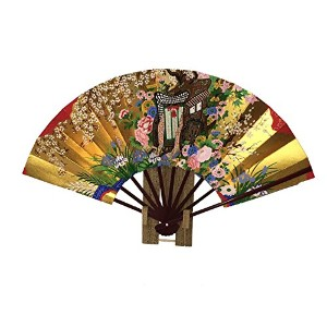 Japanese和紙紙gosyo Guruma sensu(22 cm Folding Fan ) with元ボックスとスタンド