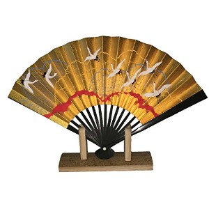 Japanese和紙紙Senbazuru sensu ( 15 cm Folding Fan ) with元ボックスとスタンド