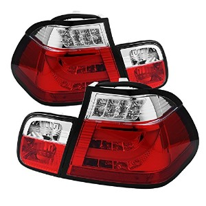 Spyder Auto ALT-YD-BE4602-4D-LBLED-RC BMW E46 3-Series 4-Door Red/Clear Light Bar Style LED Tail...