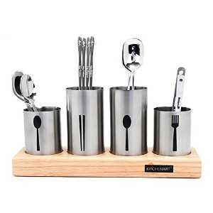 Kichen Art, Stainless Steel Flatware Organizer Holder Caddy With Wood Base 4Pcs & Free Gift (Key...