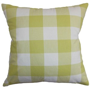 The Pillow Collection KING-D-31874-LEMONGRASS-C100 Green Vedette Plaid Bedding Sham, King/20' x 36'...