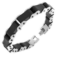 Stainless Steel Black Rubber Silicone Silver-Tone Bike Link Chain Men's Bracelet