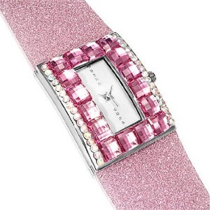 Fashion Alloy Pink White Multicolor CZ Rectangle Face Womens Watch