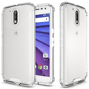Moto G4/Moto G4 plus Case,SOUNDMAE Armor Transparent Clear TPU Frame Shockproof Protective Case...