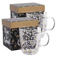 Cypress Home Glass Coffee Cup 12 oz In Gift Box Set of 2,Raise & Grind