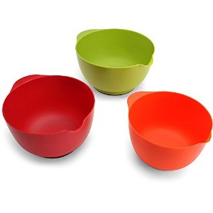 Farberware 3Piece of AssortedプラスチックMixing Bowls Set with Non Slip Base