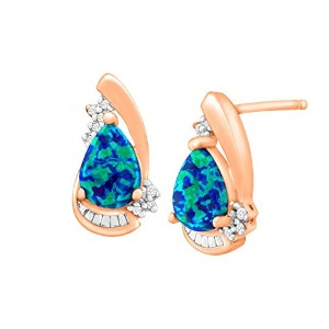 1/ 2ct Created Blue Opal Stud Earrings with Diamonds in 18Kローズ金メッキスターリングシルバー