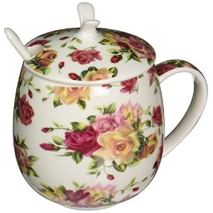 ICON Fine Bone China Floral Mug with Lid, 15 oz, Chinese Rose
