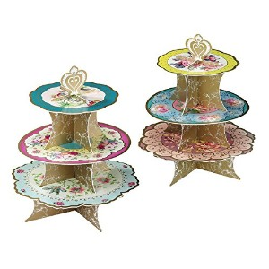 Talking Tables Truly Scrumptious Floral Cakestand (3 Tier) for a Tea Party, Wedding or Birthday,...