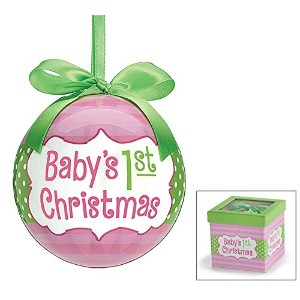 Christmas Holiday Ornament Baby's 1st Christmas Pink Gift Boxed