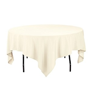 LinenTablecloth 85 In. Square Economy Polyester Tablecloth Ivory