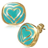 Stainless Steel Blue Yellow Gold-Tone Square Love Heart Womens Girls Stud Earrings