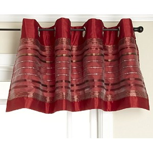 Stylemaster Fiesta Faux Silk Grommet Valance with Sequin Organza Crimson, 56-Inch by 18-Inch