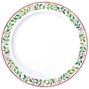 Holly Christmas Plastic Dessert Plates Reusable Party Tableware (20 Pieces), White/Green, 7 1/2
