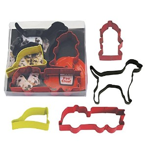 R and M Fire Truck 4pc Cookie Cutter Set - Poly Resin Coated