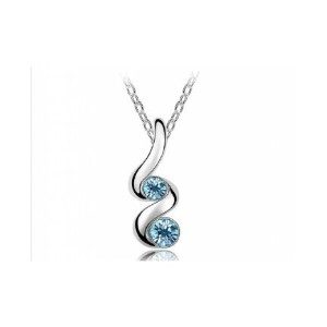 18K White Gold Plated Austrian Crystal Sprout Pendant Necklace