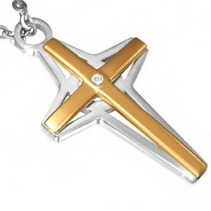 Stainless Steel Two-Tone White CZ Mens Womens Cross Pendant Nencklace