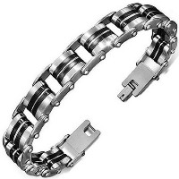 Stainless Steel Black Silver Two-Tone Mens Link Chain Bracelet