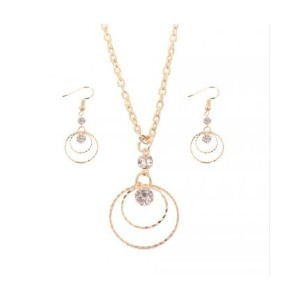 Trendy 18K Gold Plated CZ Crystal Dangle Necklace Earring Jewelry Set