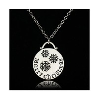 Snowflake Circle Silver Plated 'MerryChristmas' Chain Pendant Necklace