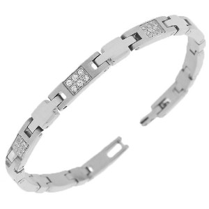 Stainless Steel Silver-Tone Link Chain White Round CZ Mens Womens Bracelet