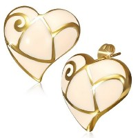 Stainless Steel White Yellow Gold-Tone Love Heart-Shaped Stud Earrings