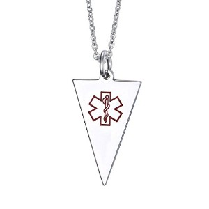 PF : Customized Engraved Medical Necklaces Pendants for Women Men Stainless Steel ID Necklace...