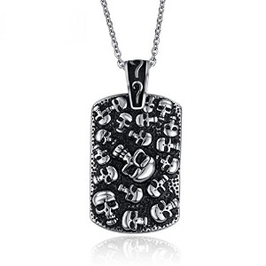 "PF : ""Men's Skull Rock Necklace Stainless Steel Skeleton Necklace Jewelry Free Chain 24"""""""