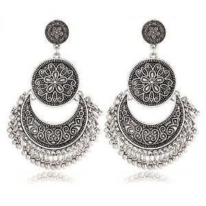 Retro Silver Color Boho Bijoux Flower Earring for Women