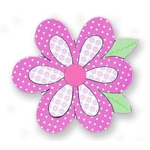The Kids Room Whimsical Die Cut Wall Plaque, Pink and White Polka Dot Flower by The Kids Room by...