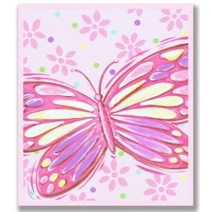 The Kids Room by Stupell Pink Butterfly Rectangle Wall Plaque by The Kids Room by Stupell