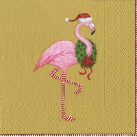 Entertaining with Caspari Christmas Flamingoカクテルナプキン Pack of 20 ゴールド 2.5