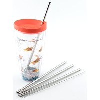 4 Stainless Steel Straws for Tervis Tumbler 24 oz Travel Insulated Clear Drinking Cup Lid CocoStraw...