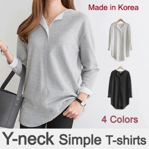 [something]Y-neck Simple T-shirts ★Direct From korea/ High quality women T-shirts/office wear/Tee...