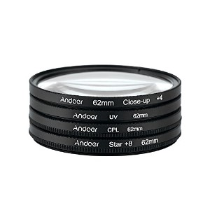 Andoer 5-in-1 UV+CPL+Close-Up+4 +Star 8-Point フィルター 円形フィルターキット バッグ付き Nikon Canon Pentax Sony...