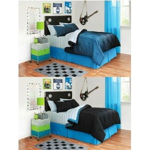 Full 8-pieces Your Zone Black and Blue Reversible Bedding Set by Your Zone [並行輸入品]