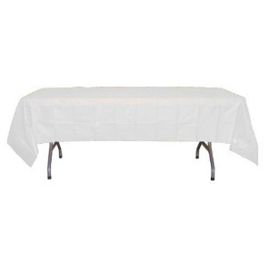 Premium Plastic Tablecloth 54in. x 108in. Rectangle Table Cover - White by Exquisite