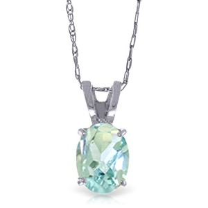 K14 Yellow, White, Rose Gold Necklace with Oval-shaped Aquamarine