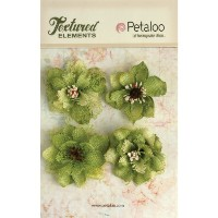 "Textured Elements Burlap Blossoms 2.25"" 4/Pkg-Pistachio (並行輸入品)"