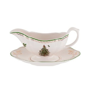 Spode Christmas Tree Sauce Boat and Stand, Gold by Spode