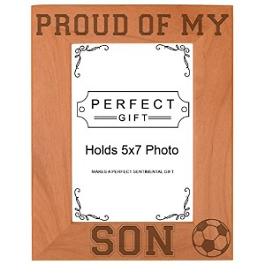 Soccer Dad Mom Gift Proud of my Son Sports Natural Wood Engraved 5x7 Portrait Picture Frame Wood by...