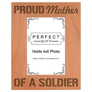 Mother's Day Gift Proud Mother of a Soldier Natural Wood Engraved 4x6 Portrait Picture Frame Wood...
