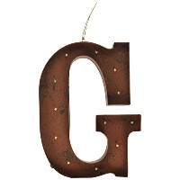 """Gerson会社"""" G """" LEDライト付きのメタルLetter with Rustic Brown Finish"""