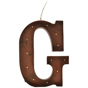 "Gerson会社"" G "" LEDライト付きのメタルLetter with Rustic Brown Finish"