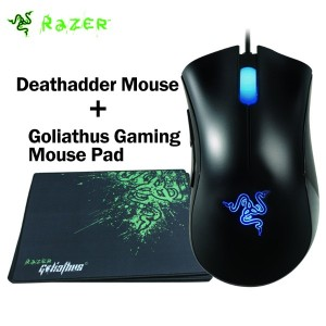 Razer Deathadder Mouse 3500DPI Gaming Mouse+Razer Goliathus Gaming Mouse Pad 320mm x 240mm x 3mm